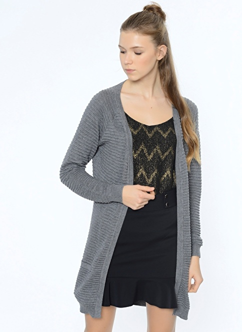 Vero Moda Uzun Triko Hırka Gri